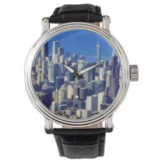 Aerial view of Chicago Downtown with Lake Watch