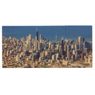 Aerial view of Chicago Downtown with Lake Wood USB 2.0 Flash Drive