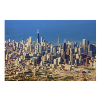 Aerial view of Chicago Downtown with Lake Wood Wall Art