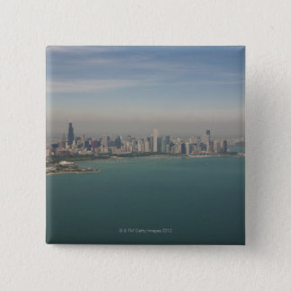 aerial view of Chicago from lake Michigan 15 Cm Square Badge