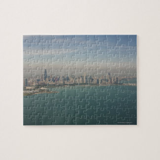 aerial view of Chicago from lake Michigan Jigsaw Puzzle