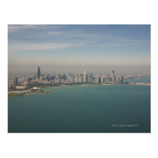 aerial view of Chicago from lake Michigan Postcard