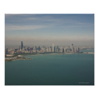 aerial view of Chicago from lake Michigan Poster