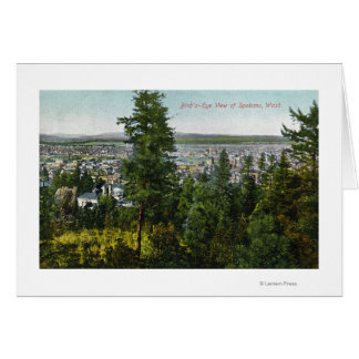 Aerial View of City through the Woods Card