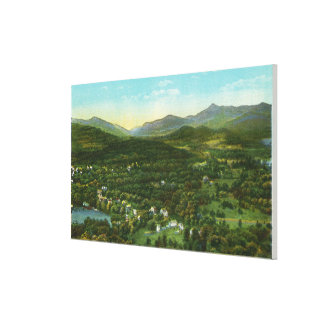 Aerial View of City with Hurrican Mountain Canvas Print