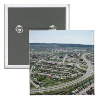 Aerial view of cityscape of Newfoundland, Canada 15 Cm Square Badge
