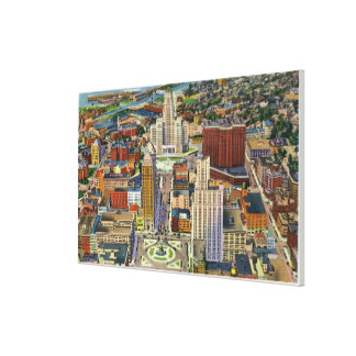 Aerial View of Downtown and the Civic Center Canvas Print