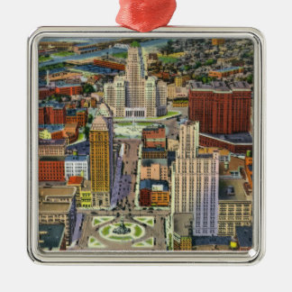 Aerial View of Downtown and the Civic Center Christmas Ornament