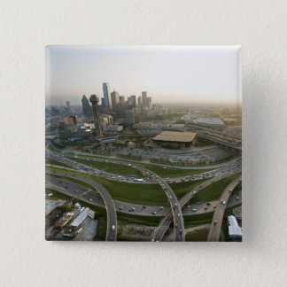 Aerial view of downtown Dallas, Texas 15 Cm Square Badge