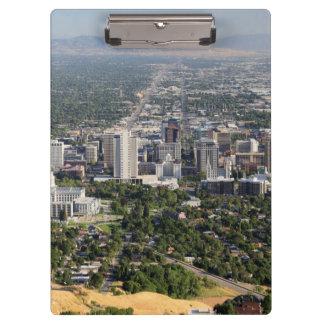 Aerial view of downtown Salt Lake City, Utah Clipboard