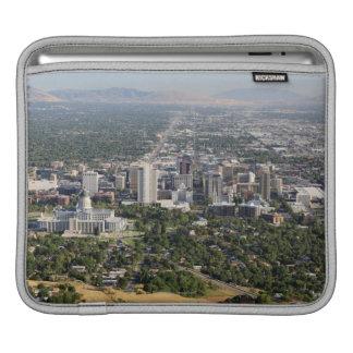 Aerial view of downtown Salt Lake City, Utah iPad Sleeve