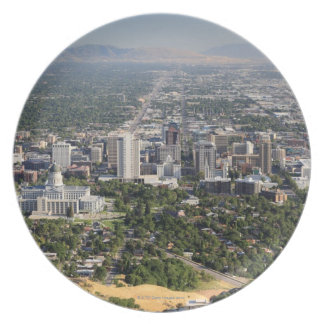Aerial view of downtown Salt Lake City, Utah Plate