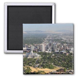 Aerial view of downtown Salt Lake City, Utah Square Magnet