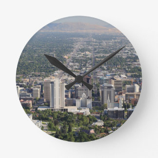 Aerial view of downtown Salt Lake City, Utah Wall Clocks