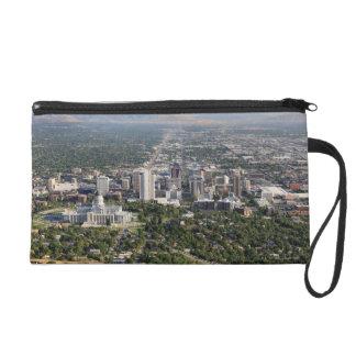 Aerial view of downtown Salt Lake City, Utah Wristlet Purse