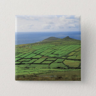 aerial view of farmland by the sea 15 cm square badge