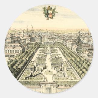 Aerial View of Formal Garden by Eric Dahlbergh Round Sticker