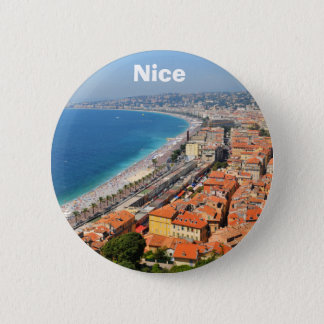 Aerial view of French Riviera in Nice, France 6 Cm Round Badge
