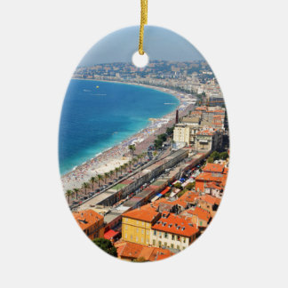 Aerial view of French Riviera in Nice, France Ceramic Oval Decoration