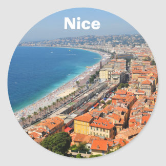 Aerial view of French Riviera in Nice, France Classic Round Sticker