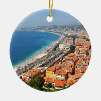 Aerial view of French Riviera in Nice, France Round Ceramic Decoration