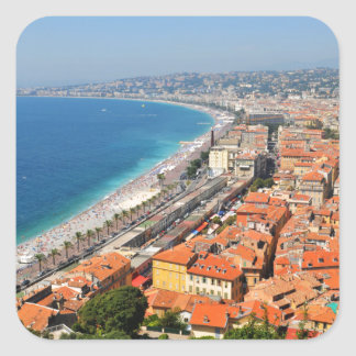 Aerial view of French Riviera in Nice, France Square Sticker