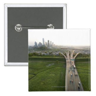 Aerial view of highway in Dallas, Texas 15 Cm Square Badge