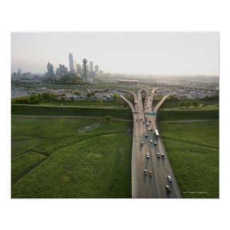 Aerial view of highway in Dallas, Texas Poster