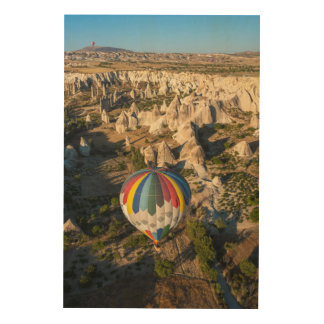 Aerial View Of Hot Air Balloons, Cappadocia Wood Wall Art