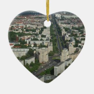 Aerial view of Karl Marx Allee in Berlin Germany Ceramic Heart Decoration
