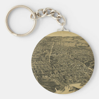 Aerial View Of Knoxville Tennessee from 1886 Basic Round Button Key Ring
