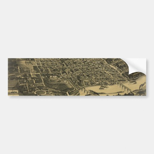 Aerial View Of Knoxville Tennessee from 1886 Bumper Sticker