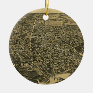 Aerial View Of Knoxville Tennessee from 1886 Round Ceramic Decoration