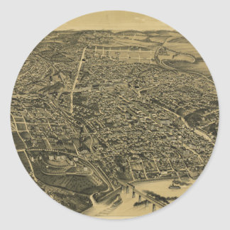 Aerial View Of Knoxville Tennessee from 1886 Round Sticker