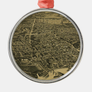 Aerial View Of Knoxville Tennessee from 1886 Silver-Colored Round Decoration