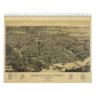 Aerial View Of Knoxville Tennessee from 1886 Wall Calendars