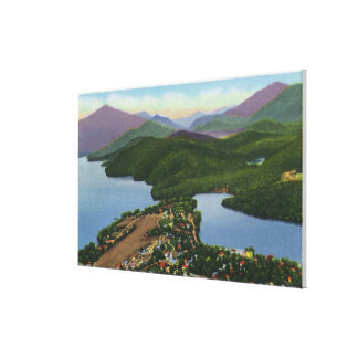 Aerial View of Lakes Placid and Mirror Canvas Print