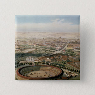 Aerial View of Madrid from the Plaza de Toros 15 Cm Square Badge