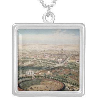 Aerial View of Madrid from the Plaza de Toros Silver Plated Necklace