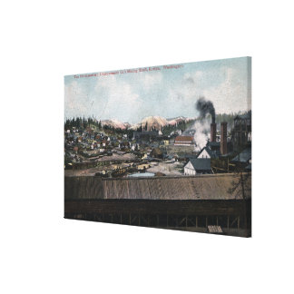 Aerial View of Mining Shaft & Town Canvas Print