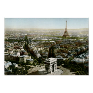 Aerial View of Paris, France Vintage Poster