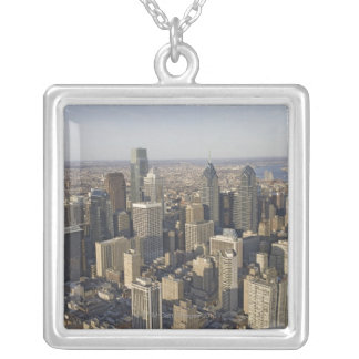 Aerial view of Philadelphia, Pennsylvania Silver Plated Necklace
