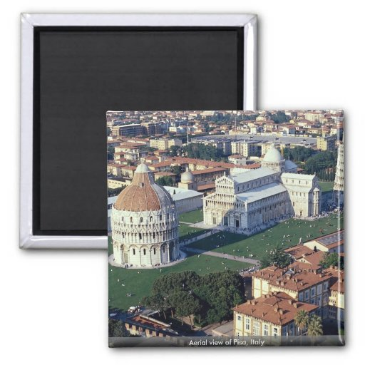 Aerial view of Pisa, Italy Square Magnet