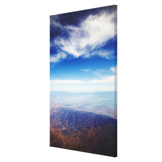 Aerial view of red brown mountains canvas print