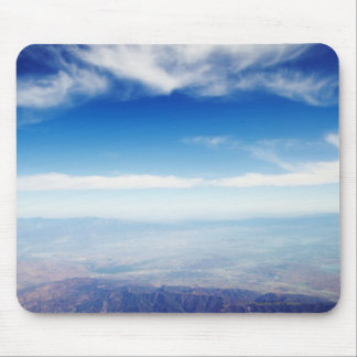Aerial view of red brown mountains mouse mat