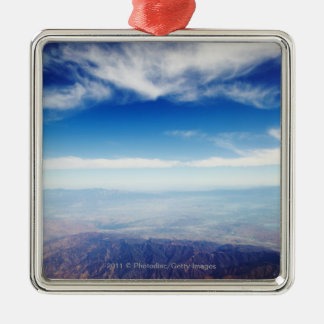 Aerial view of red brown mountains Silver-Colored square decoration