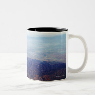 Aerial view of red brown mountains Two-Tone coffee mug
