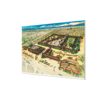 Aerial View of Rickey's Studio Inn Canvas Print