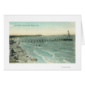 Aerial View of San Mateo Beach and Pier Card