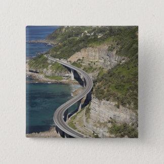 Aerial view of Sea Cliff Bridge near Wollongong, 15 Cm Square Badge